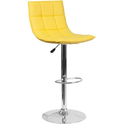 Whelan Mid Back Curved Quilted Adjustable Height Swivel Bar Stool Upholstery: Yellow