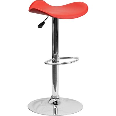Whelan Backless Adjustable Height Swivel Bar Stool Upholstery: Red