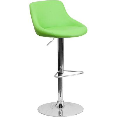 Crotty Low Back Adjustable Height Swivel Bar Stool Upholstery: Green
