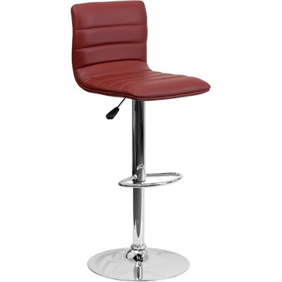 Whelan Mid Back Adjustable Height Swivel Bar Stool Upholstery: Burgundy