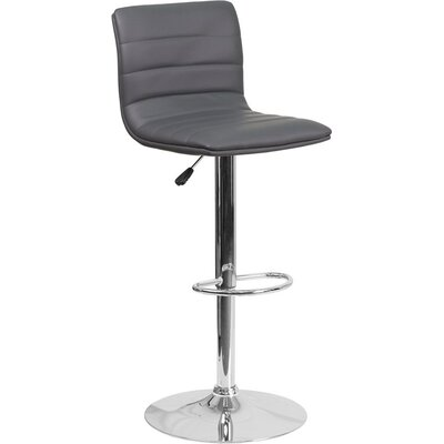 Whelan Mid Back Adjustable Height Swivel Bar Stool Upholstery: Gray