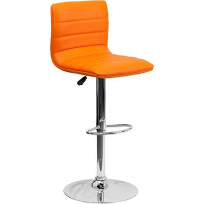 Whelan Mid Back Adjustable Height Swivel Bar Stool Upholstery: Orange
