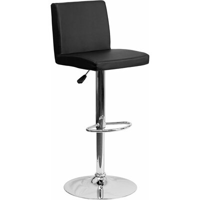 Crotty Mid Back Adjustable Height Swivel Bar Stool Upholstery: Black