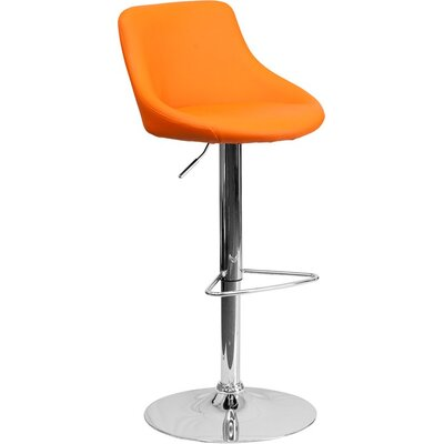 Crotty Low Back Adjustable Height Swivel Bar Stool Upholstery: Orange