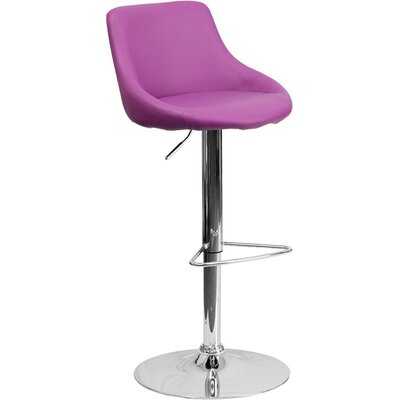 Crotty Low Back Adjustable Height Swivel Bar Stool Upholstery: Purple