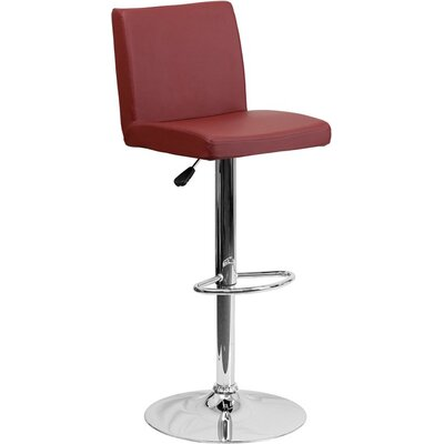 Crotty Mid Back Adjustable Height Swivel Bar Stool Upholstery: Burgundy
