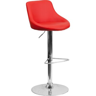 Crotty Low Back Adjustable Height Swivel Bar Stool Upholstery: Red