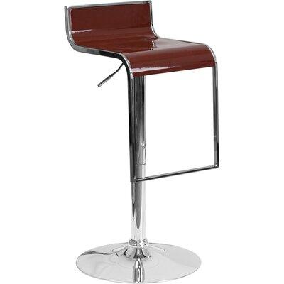 Whelan Adjustable Height Swivel Bar Stool Color: Burgundy