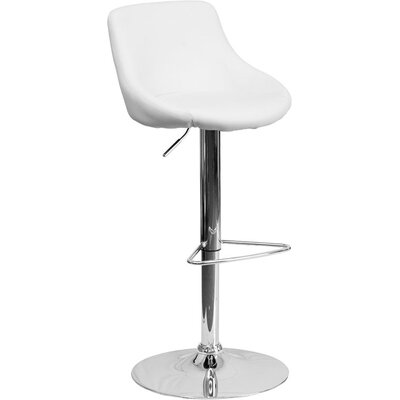 Crotty Low Back Adjustable Height Swivel Bar Stool Upholstery: White