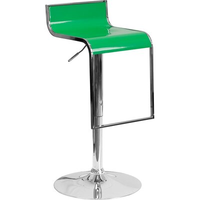 Whelan Adjustable Height Swivel Bar Stool Color: Green