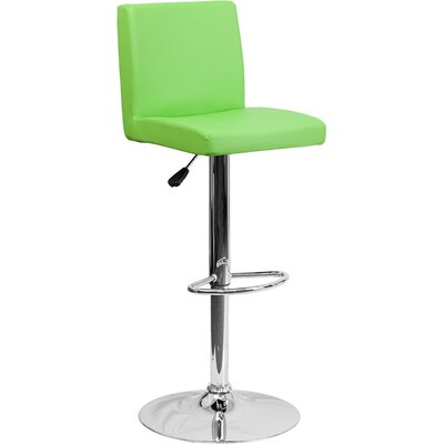 Crotty Mid Back Adjustable Height Swivel Bar Stool Upholstery: Green