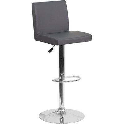 Crotty Mid Back Adjustable Height Swivel Bar Stool Upholstery: Gray