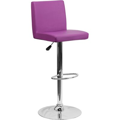 Crotty Mid Back Adjustable Height Swivel Bar Stool Upholstery: Purple