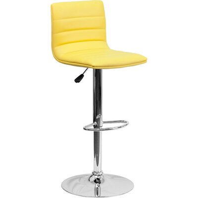 Whelan Mid Back Adjustable Height Swivel Bar Stool Upholstery: Yellow