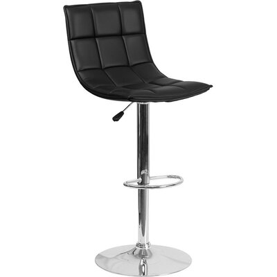 Whelan Mid Back Curved Quilted Adjustable Height Swivel Bar Stool Upholstery: Black