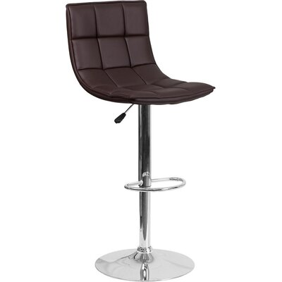 Whelan Mid Back Curved Quilted Adjustable Height Swivel Bar Stool Upholstery: Brown