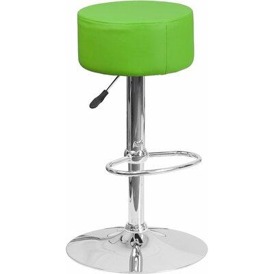 Whelan Backless Adjustable Height Swivel Bar Stool Upholstery: Green