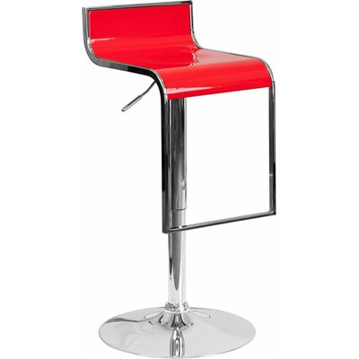 Whelan Adjustable Height Swivel Bar Stool Color: Red