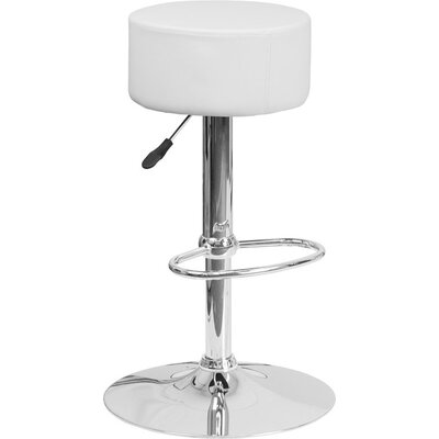 Whelan Backless Adjustable Height Swivel Bar Stool Upholstery: White