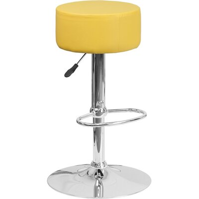 Whelan Backless Adjustable Height Swivel Bar Stool Upholstery: Yellow