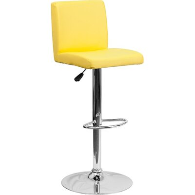 Crotty Mid Back Adjustable Height Swivel Bar Stool Upholstery: Yellow