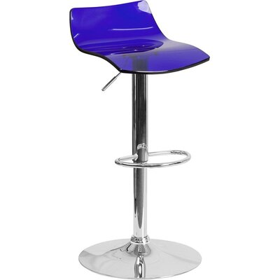 Outen Low Back Adjustable Height Swivel Bar Stool Color: Blue