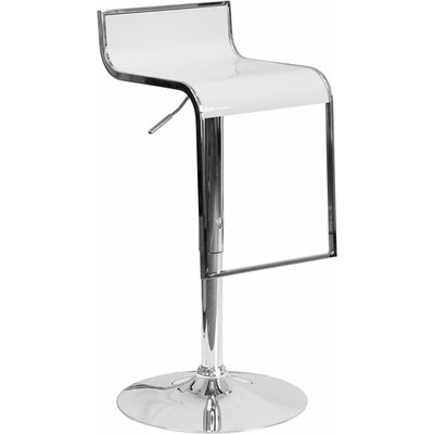 Whelan Adjustable Height Swivel Bar Stool Color: White