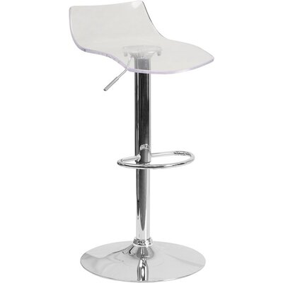 Outen Low Back Adjustable Height Swivel Bar Stool Color: Clear