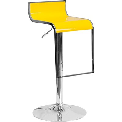 Whelan Adjustable Height Swivel Bar Stool Color: Yellow