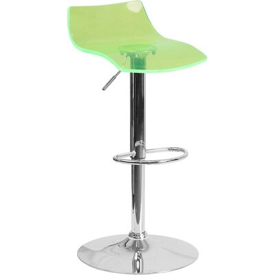 Outen Low Back Adjustable Height Swivel Bar Stool Color: Green