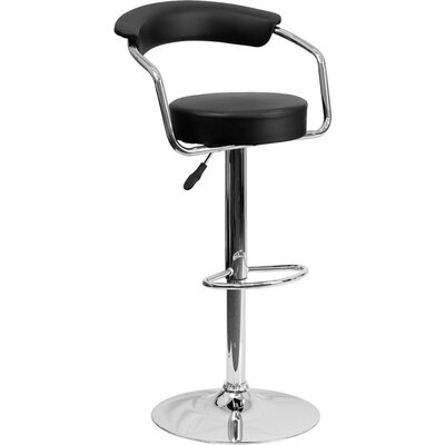Eberhard Low Back Adjustable Height Swivel Bar Stool Upholstery: Black