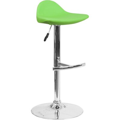 Whelan Low Back Adjustable Height Swivel Bar Stool Upholstery: Green