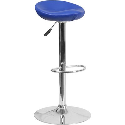 Whelan Backless Adjustable Height Swivel Bar Stool Upholstery: Blue