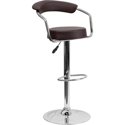 Eberhard Low Back Adjustable Height Swivel Bar Stool Upholstery: Brown