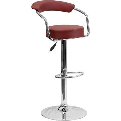 Eberhard Low Back Adjustable Height Swivel Bar Stool Upholstery: Burgundy