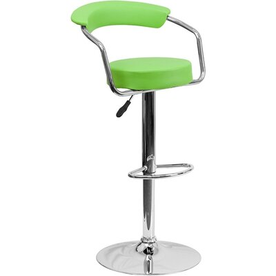 Eberhard Low Back Adjustable Height Swivel Bar Stool Upholstery: Green
