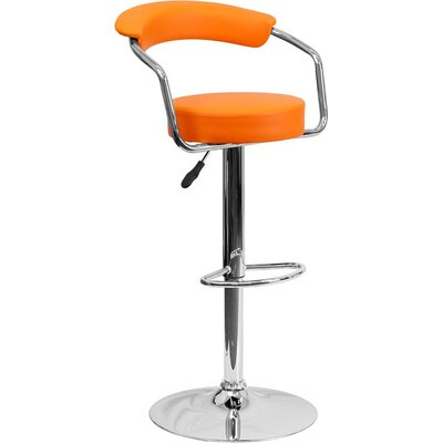 Eberhard Low Back Adjustable Height Swivel Bar Stool Upholstery: Orange