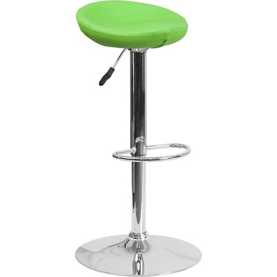 Whelan Backless Adjustable Height Swivel Bar Stool Upholstery: Green