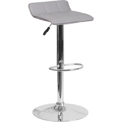Whelan Low Back Adjustable Height Swivel Bar Stool Upholstery: Gray