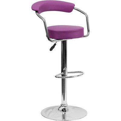 Eberhard Low Back Adjustable Height Swivel Bar Stool Upholstery: Purple