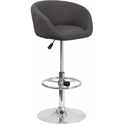 Whelan Round Low Back Adjustable Height Swivel Bar Stool Upholstery: Charcoal