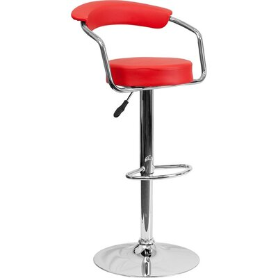 Eberhard Low Back Adjustable Height Swivel Bar Stool Upholstery: Red