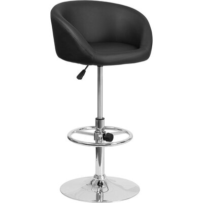 Whelan Round Low Back Adjustable Height Swivel Bar Stool Upholstery: Black