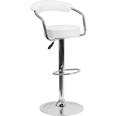 Eberhard Low Back Adjustable Height Swivel Bar Stool Upholstery: White