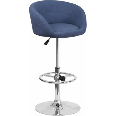 Whelan Round Low Back Adjustable Height Swivel Bar Stool Upholstery: Blue