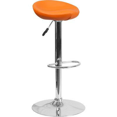 Whelan Backless Adjustable Height Swivel Bar Stool Upholstery: Orange