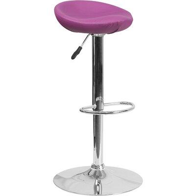 Whelan Backless Adjustable Height Swivel Bar Stool Upholstery: Purple