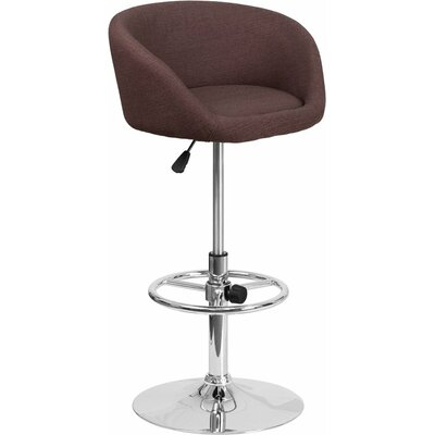 Whelan Round Low Back Adjustable Height Swivel Bar Stool Upholstery: Light Brown
