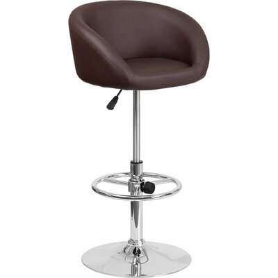 Whelan Round Low Back Adjustable Height Swivel Bar Stool Upholstery: Brown