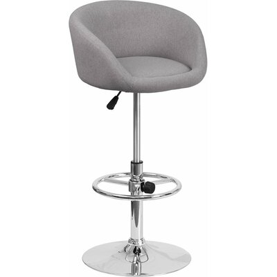Whelan Round Low Back Adjustable Height Swivel Bar Stool Upholstery: Light Gray